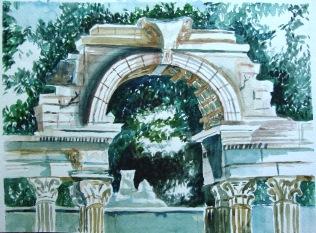 Ruins at Schonbrunn Palace, Vienna (watercolor)