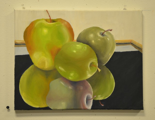 Reflected Apples (oil paint)