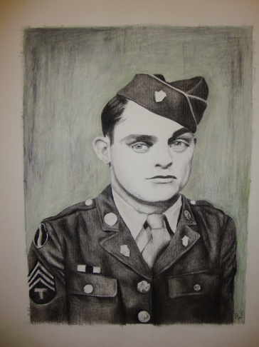 WWII Soldier, Louis Whatley (my grandfather) Portrait (charcoal)