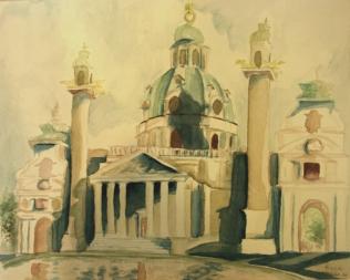 St. Charles Church, Vienna (watercolor)