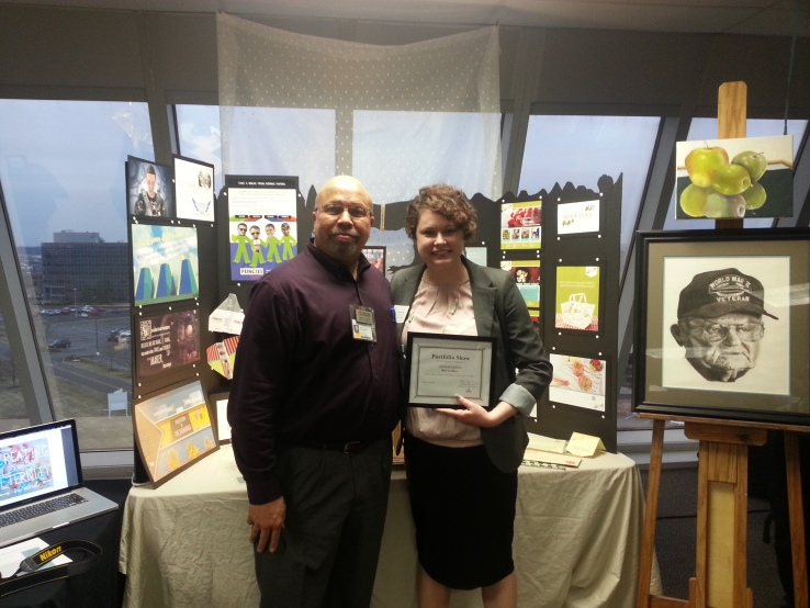 Me with Greg Cradock (Academic Director of the Graphic Design Department) and my Best in Show Award